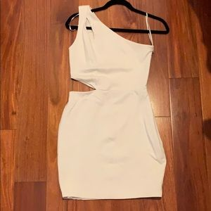 One shoulder white mini dress